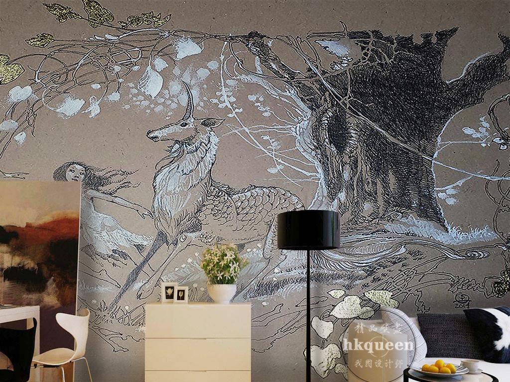 背景墙|装饰画 电视背景墙 手绘电视背景墙 > 抽象复古黑白森林独角兽