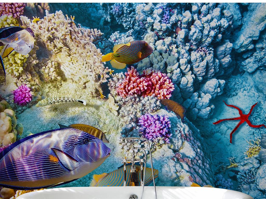 蓝色海底世界五彩珊瑚鱼群石头卫浴背景墙