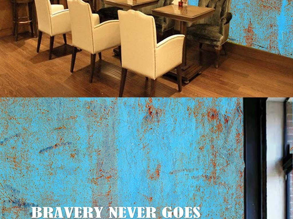 工业风做旧铁皮壁纸KTV酒吧3D背景墙图片设计素材 高清psd模板下载