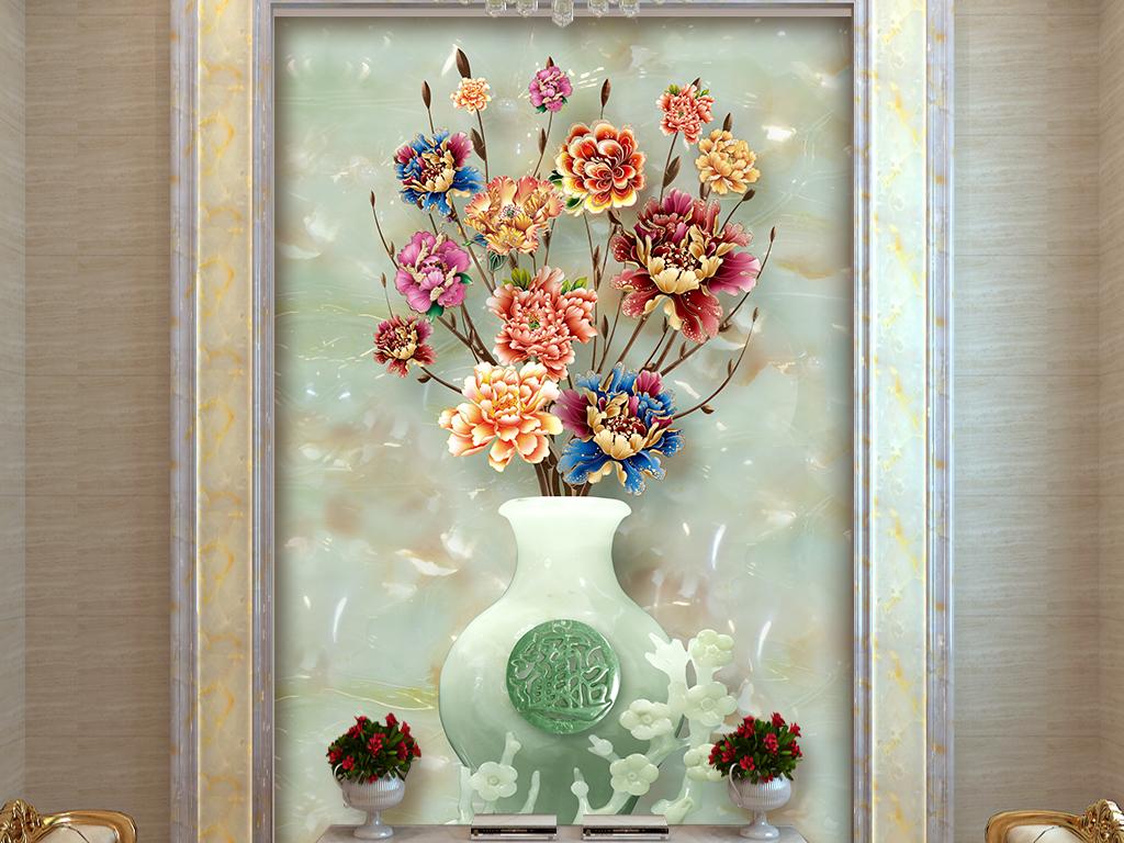 发财树招财进宝玉雕花瓶玄关背景墙壁画