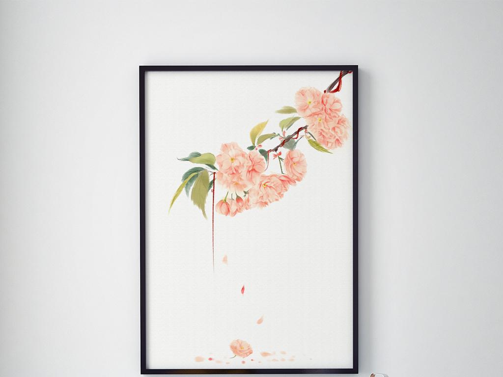 现代简约时尚素雅樱花落英缤纷意境装饰画图片设计素材 高清模板下载 7.44MB 植物花卉装饰画大全