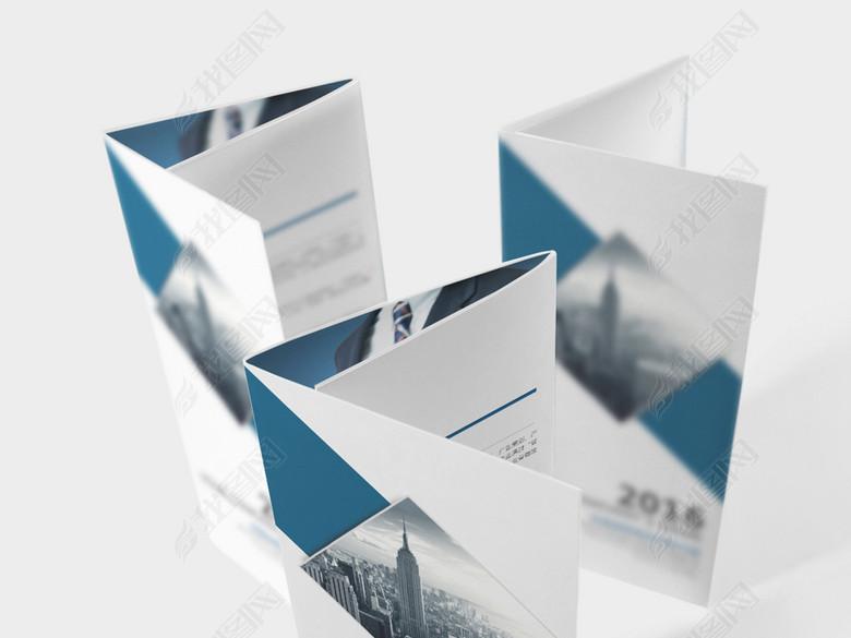 蓝色企业宣传三折页设计模版