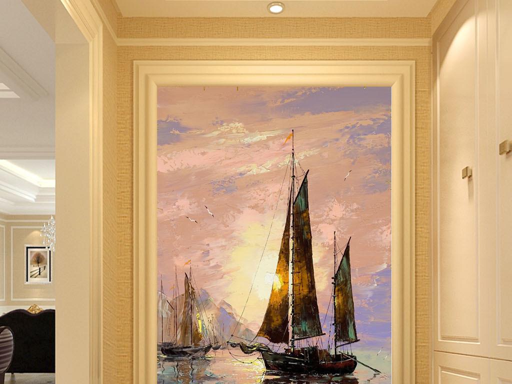 欧式手绘一帆风顺起航抽象油画玄关门厅壁画