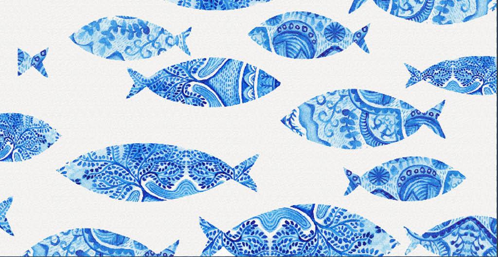 中式青花瓷青花瓷装饰素材小鱼儿素材中国传统图案青花瓷花纹