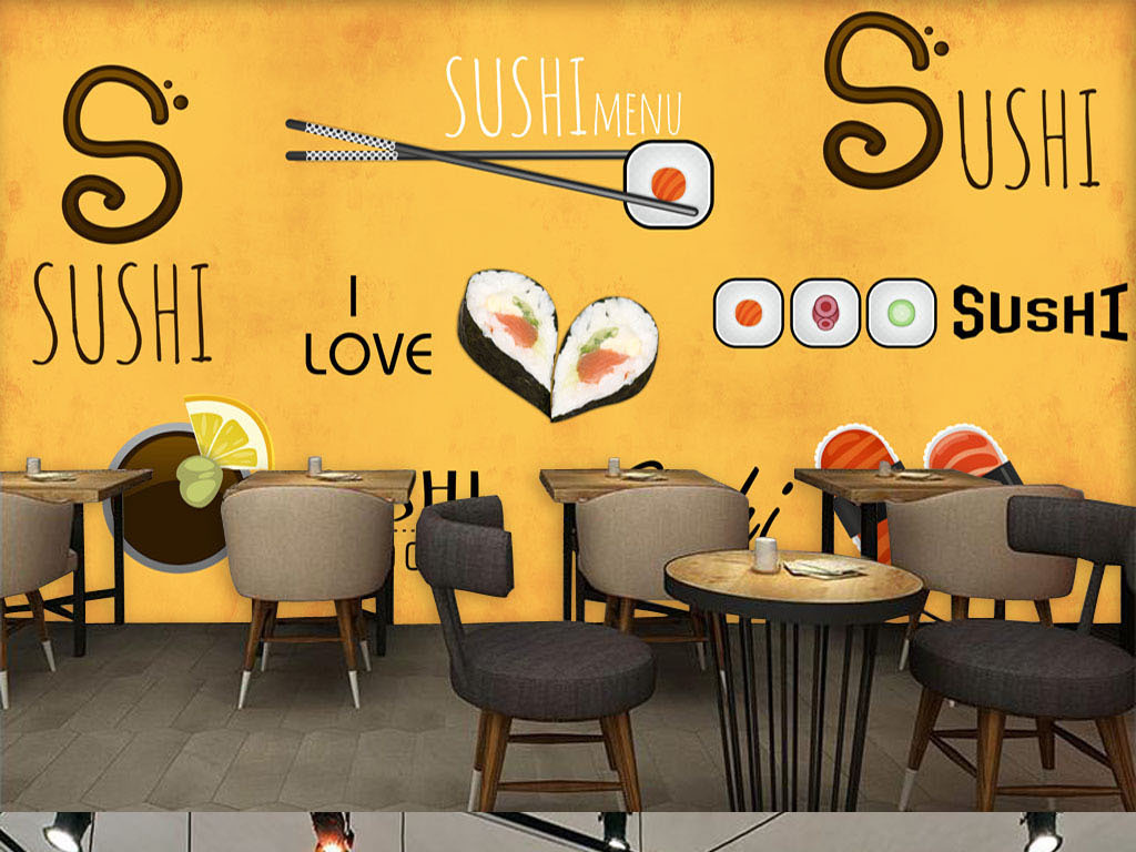 手绘日本料理寿司店餐厅背景墙