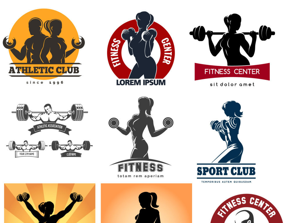 健身健美标志图标矢量素材图片