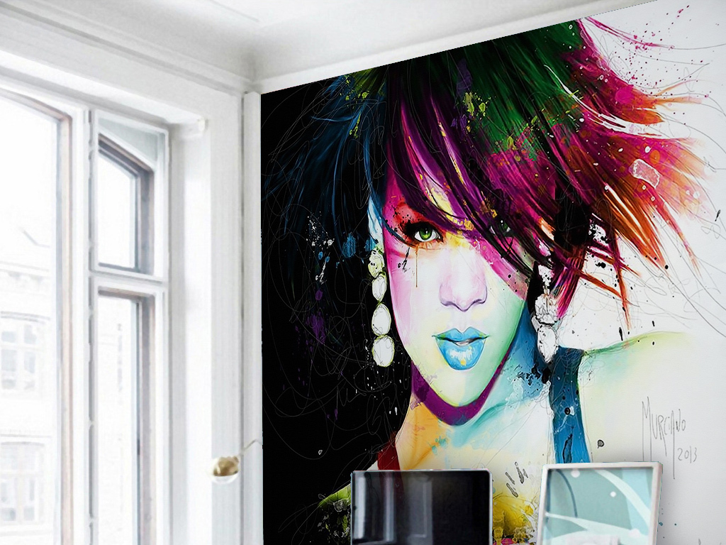 性感美女卡通手绘绘画油彩彩绘绚丽玄关过道