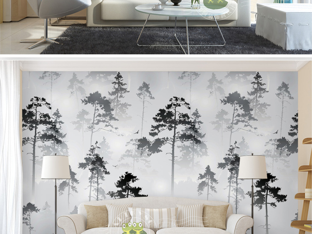 梦幻云雾笼罩松树林森林3d风景电视背景墙