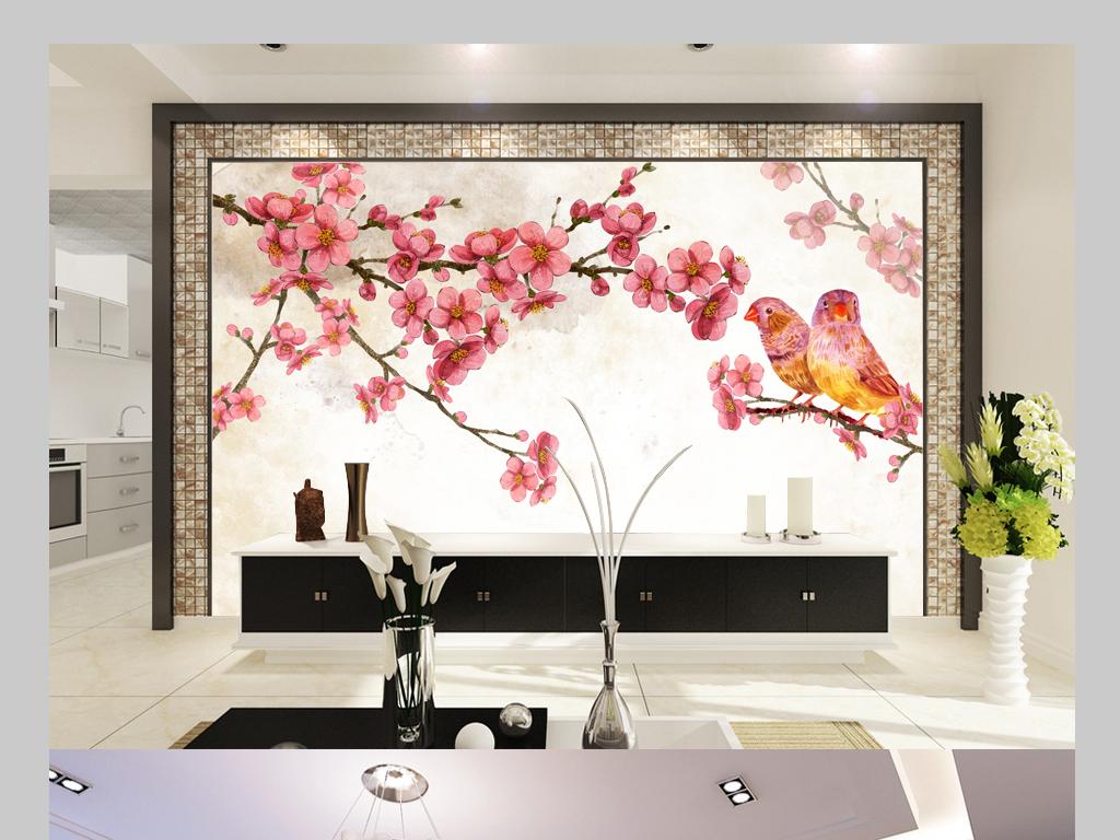 中式手绘梅花电视背景墙