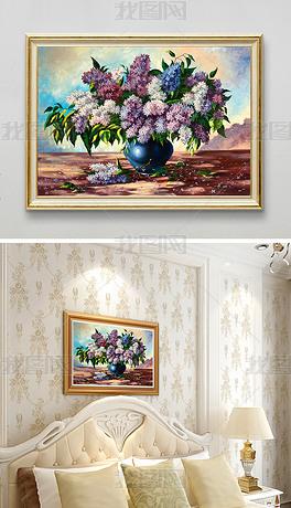 欧式复古花团锦簇手绘花卉插花油画装饰画