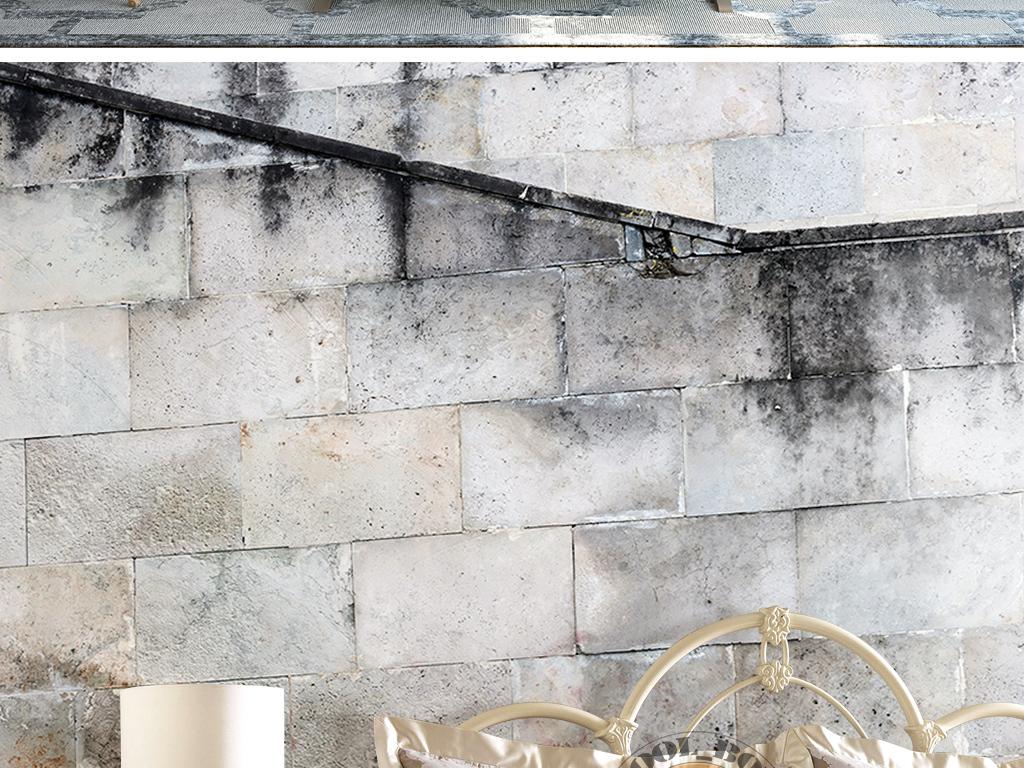3d复古怀旧做旧时尚素雅模板楼梯墙纸壁画图片设计素材 高清下载 36.