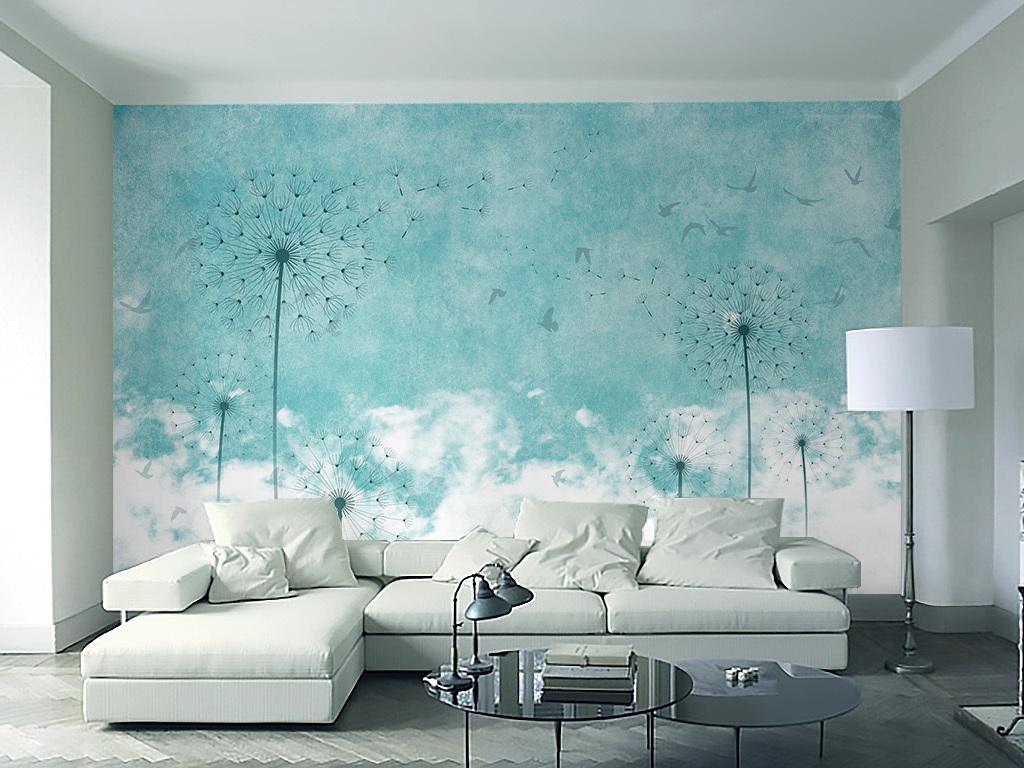 清新现代北欧风格蓝色蒲公英飞鸟电视背景墙