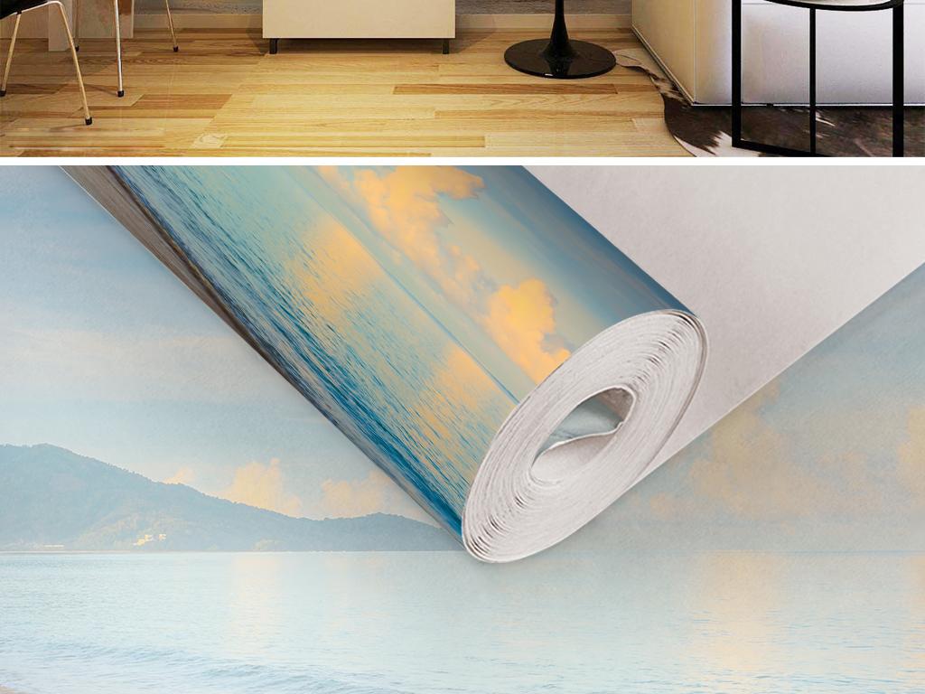 蓝天白云夕阳火烧云山水风景现代简约墙纸图片
