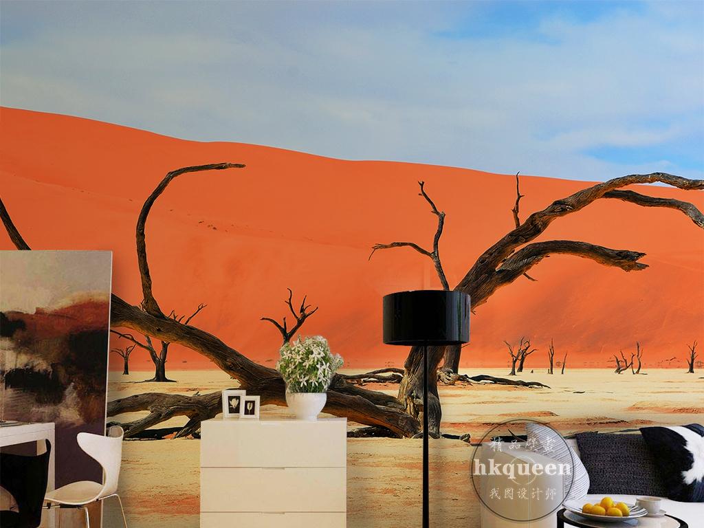 大漠谣枯枝红色沙漠风景现代简约墙纸图片设计素材 高清模板下载 19.