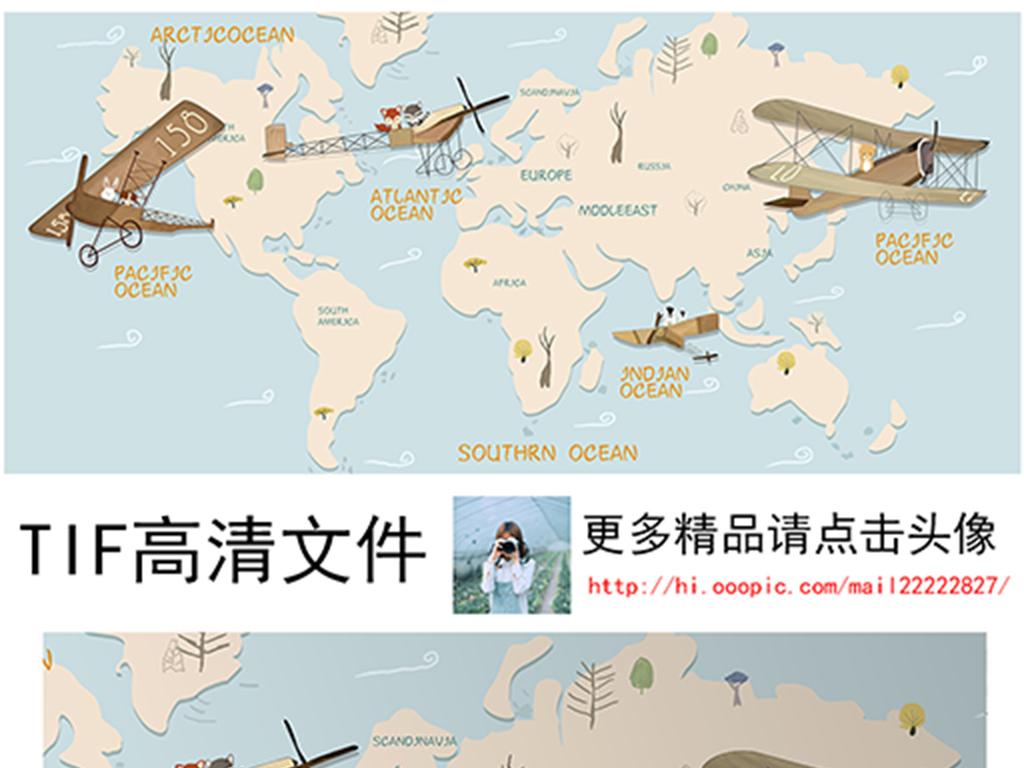 手绘儿童卡通飞机地图背景墙装饰画