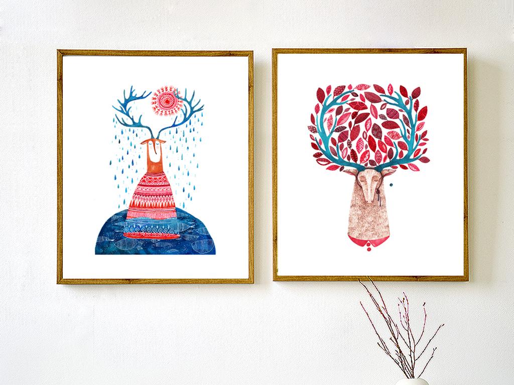 北欧简约抽象画麋鹿艺术无框画