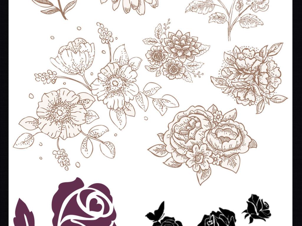 玫瑰花手绘插画插画背景手绘花朵水彩花朵花纹设计婚庆婚庆模板婚庆背