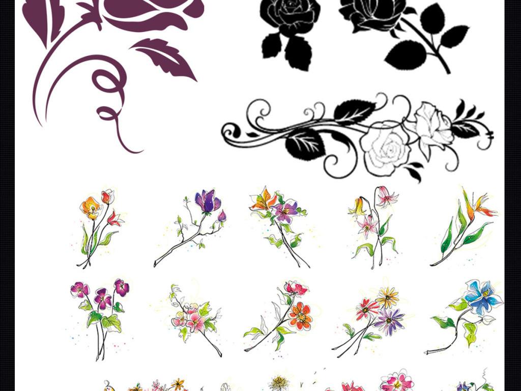 玫瑰花手绘插画插画背景手绘花朵水彩花朵花纹设计婚庆婚庆模板婚庆