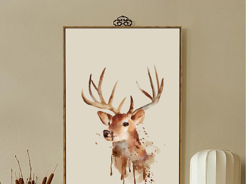 背景墙|装饰画 无框画 动物图案无框画 > 北欧风格北欧美式抽象麋鹿动