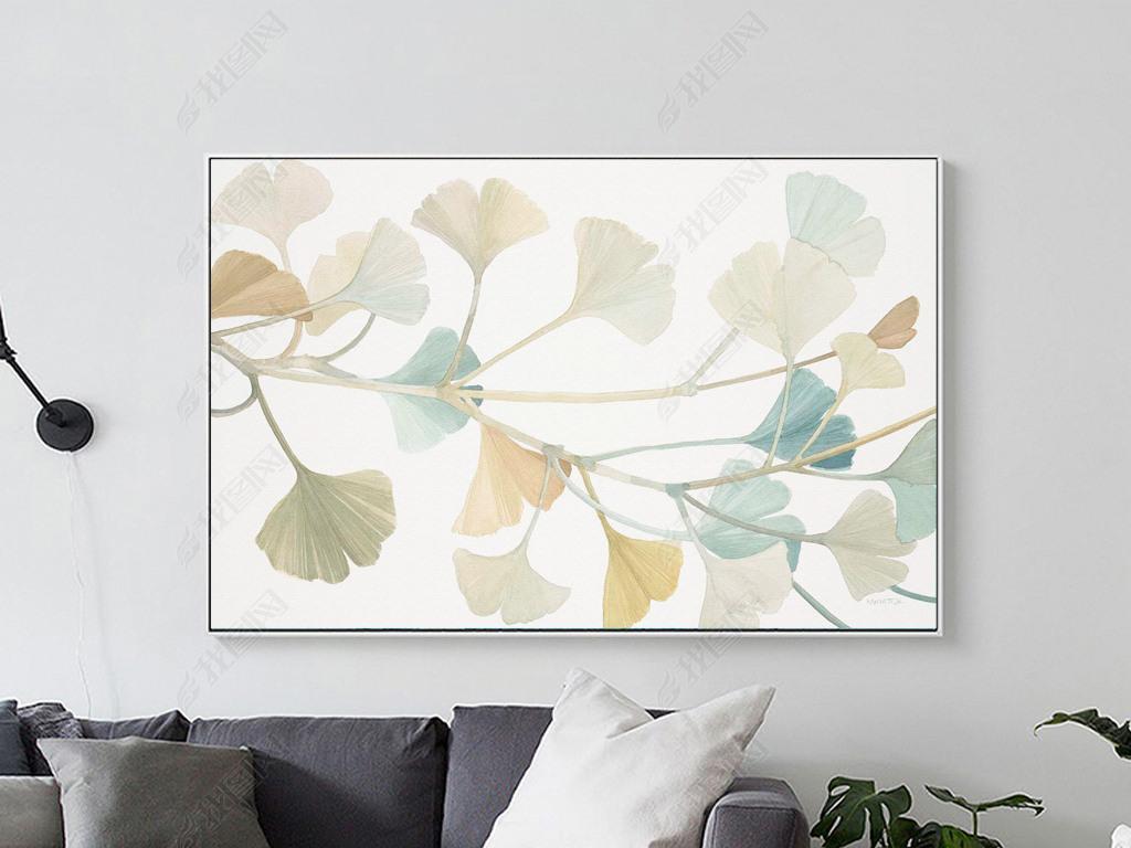 现代小清新手绘金银花花卉装饰画图片下载