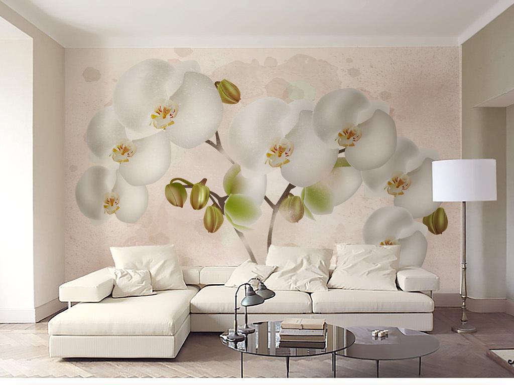 清新淡雅水彩背景蝴蝶兰花朵电视背景墙