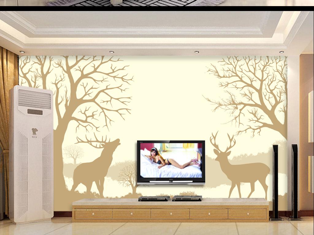 手绘森林麋鹿客厅电视背景墙图片设计素材_高清其他()