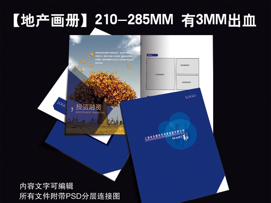 蓝色科技企业公司地产房产现代画册样册图片
