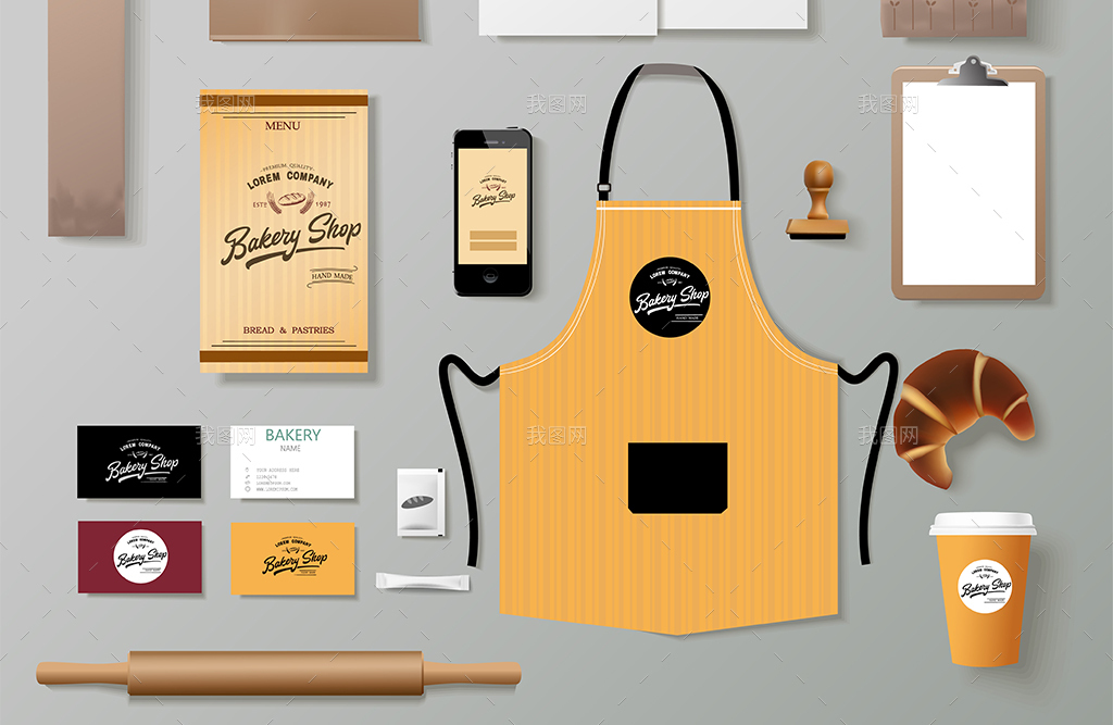 全套11款烘焙坊咖啡厅vis矢量模板