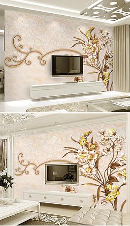 欧式手绘花卉彩雕电视背景墙图片