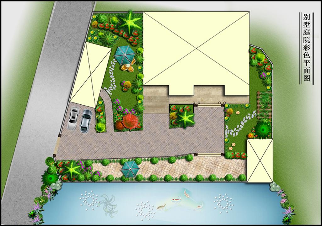 cad图库 彩色平面图 园林景观彩色平面图 > ps分层景观平面图之私家