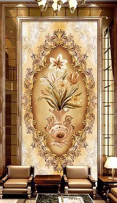 欧式手绘高端玄关背景墙图片