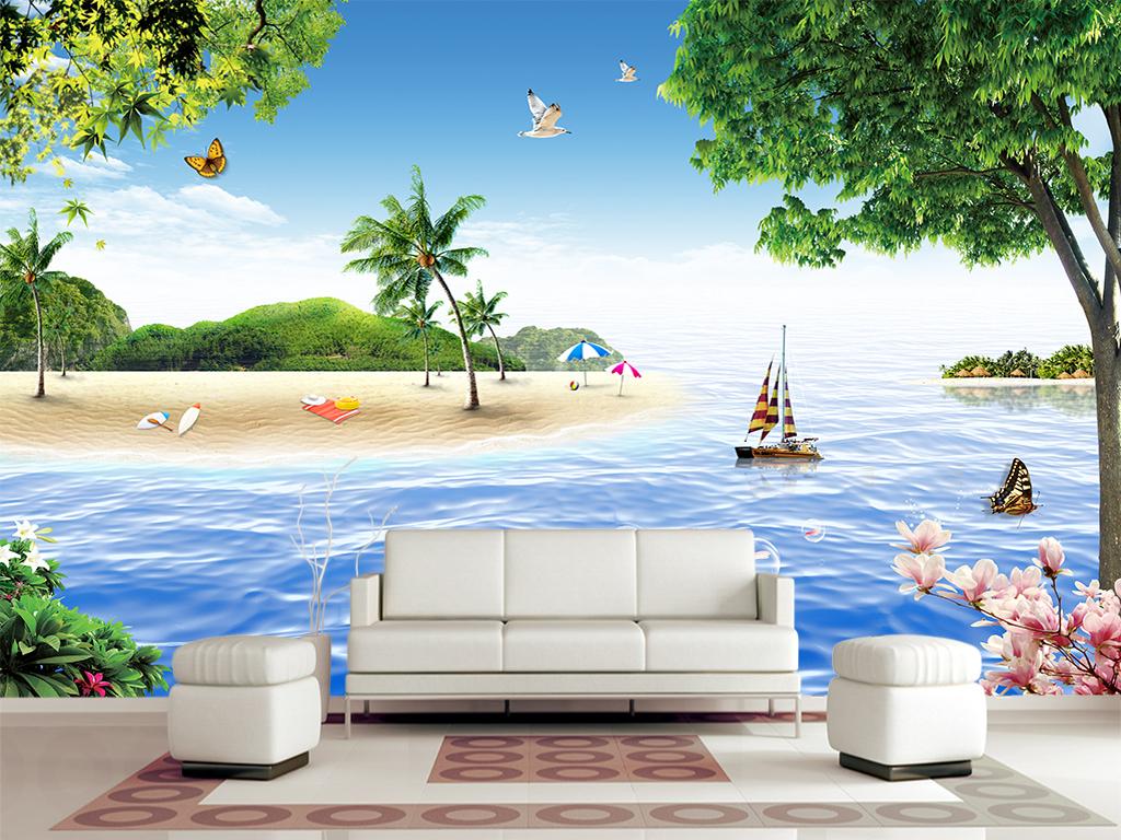 风景画海滩椰树树木风景壁画
