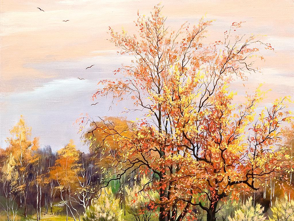秋季枫树田园风景油画三联画装饰画
