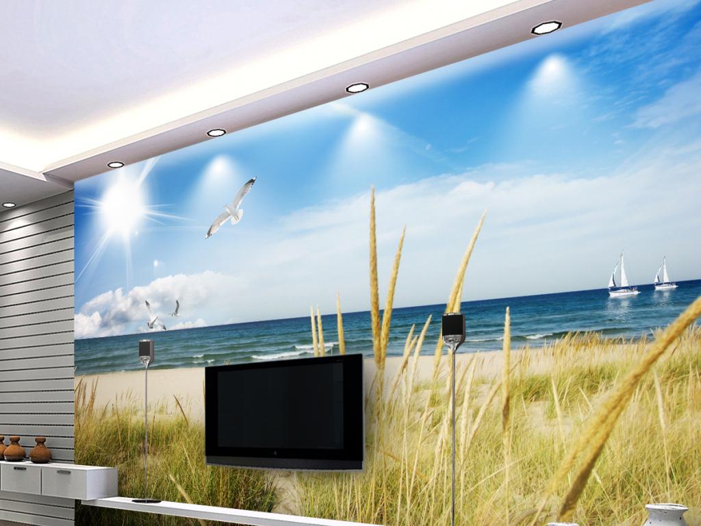 蓝天白云海滩草地海景3d电视背景墙