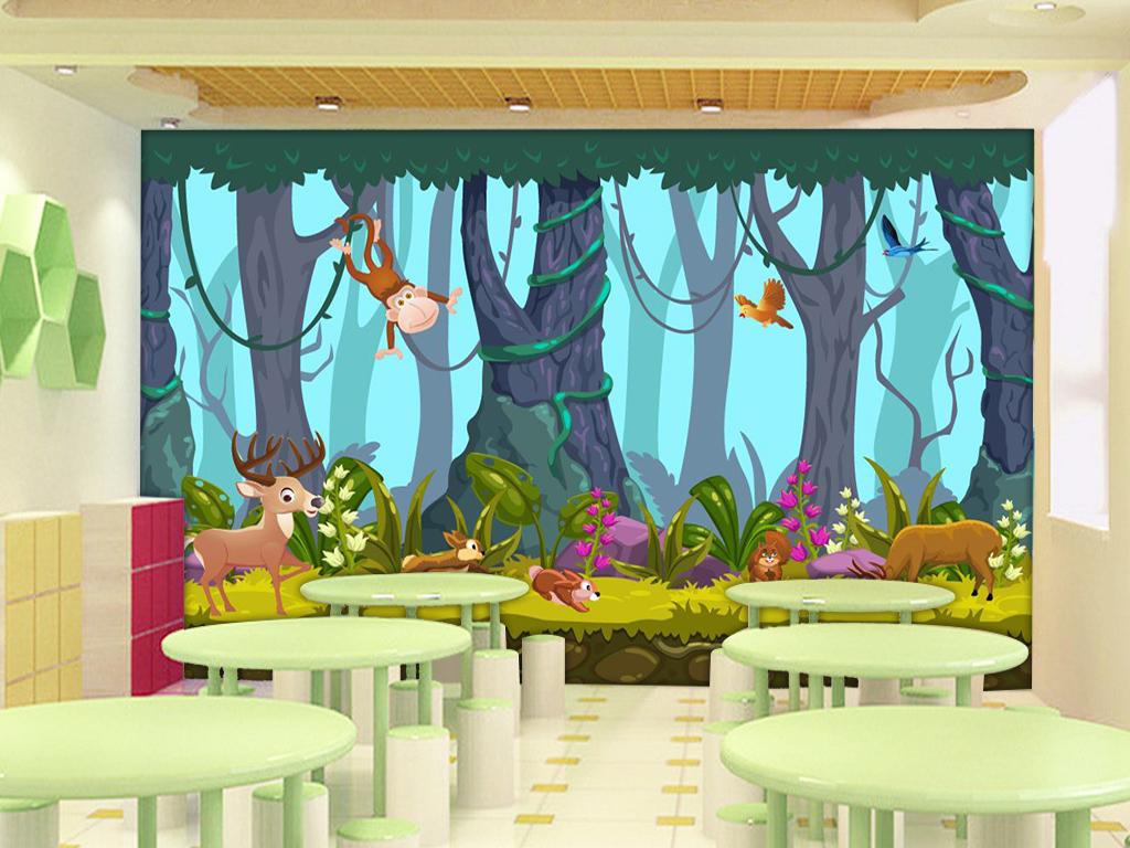 超清手绘森林动物系列卡通背景墙