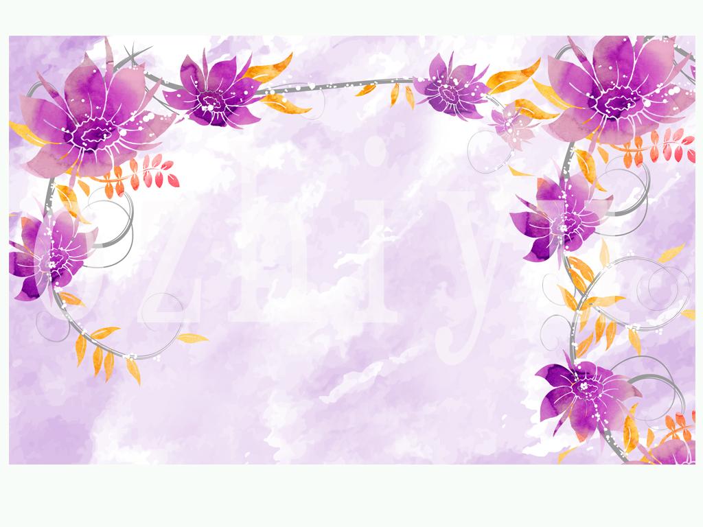 紫藤花手绘背景墙手绘壁画