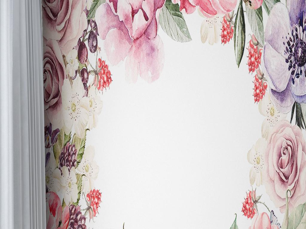 手绘花卉牡丹玫瑰葡萄蓝莓素雅现代简约墙纸