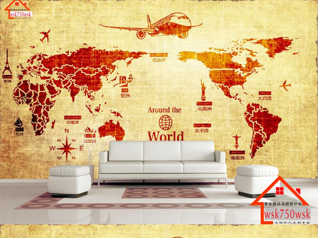 3d立体复古世界地图背景墙壁画