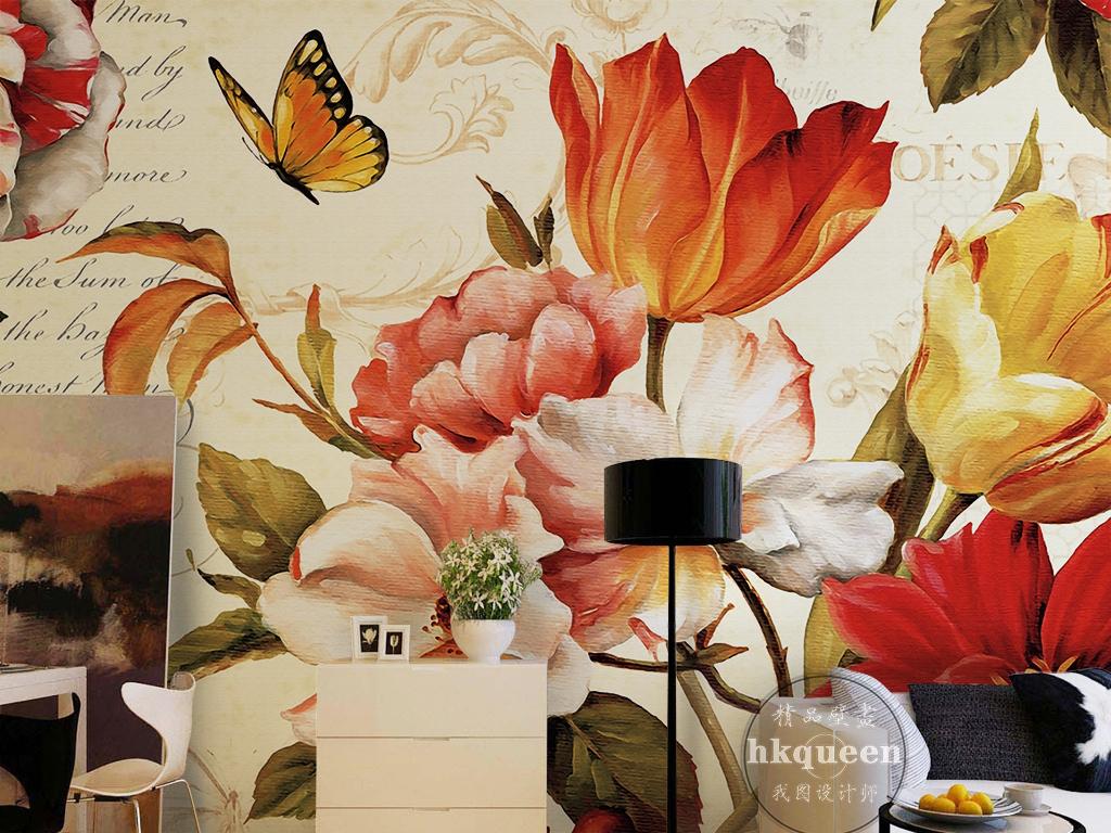 欧式花卉底纹复古怀旧蝶恋花抽象油画背景墙