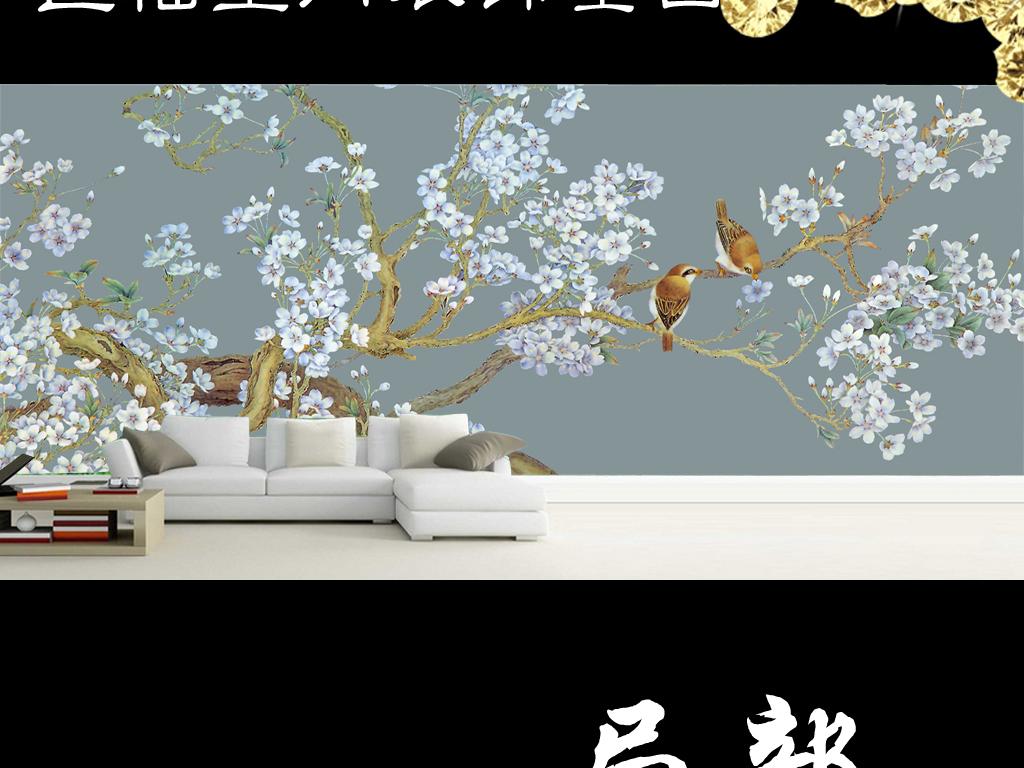 中式花鸟国画花鸟工笔花鸟工笔画国画大树