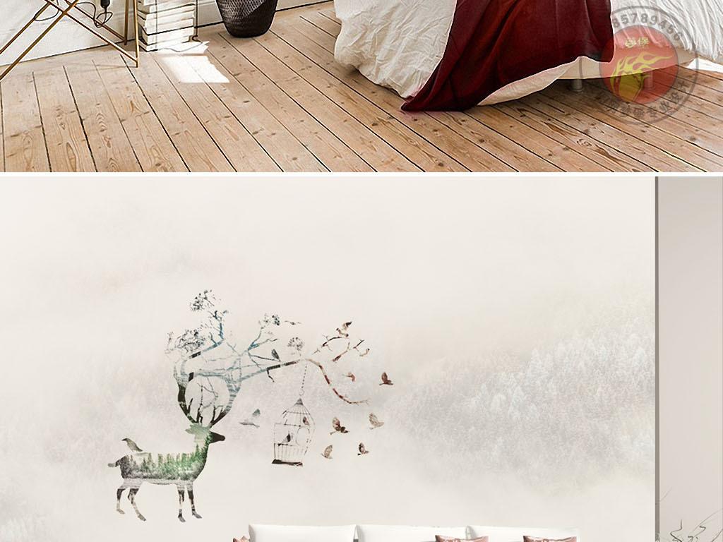 现代简约北欧美式麋鹿花鸟背景墙纸装饰画
