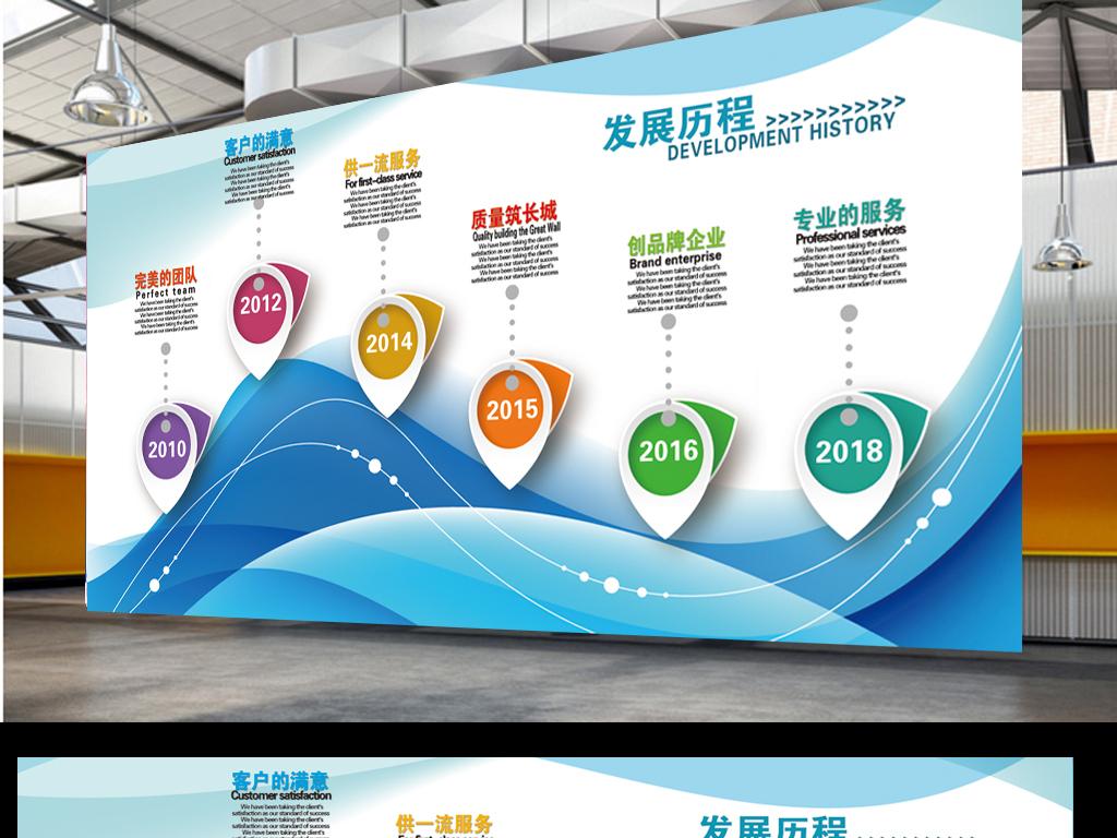 企业文化墙效果图公司发展历程时间轴设计
