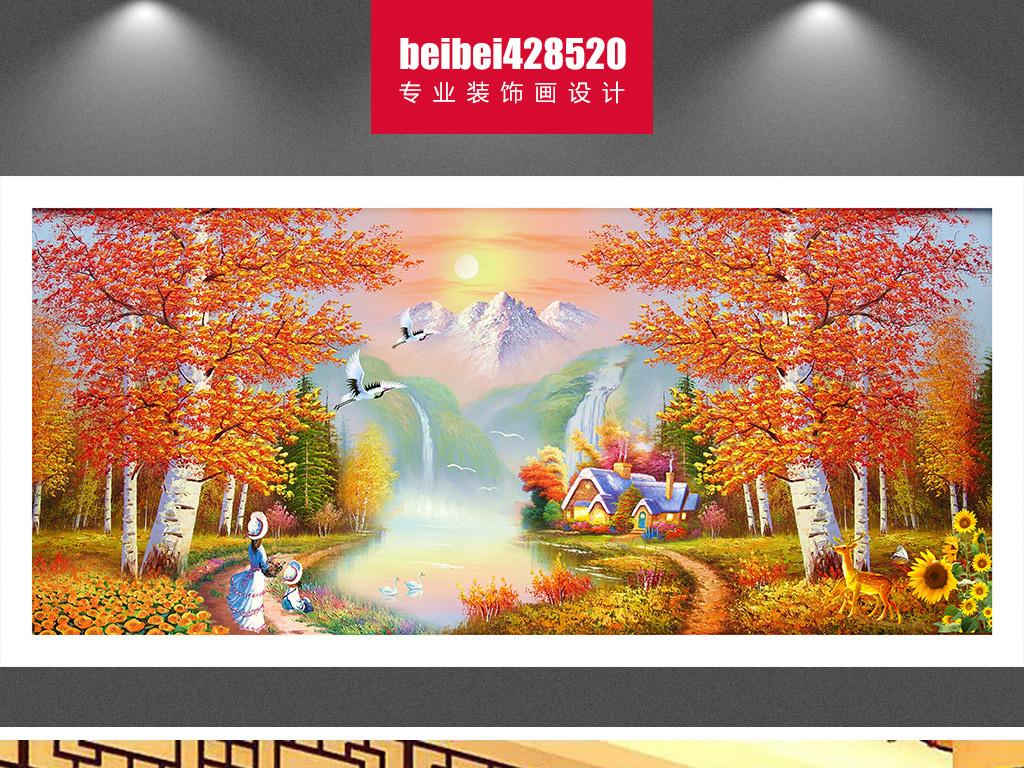 枫树林油画风景装饰画