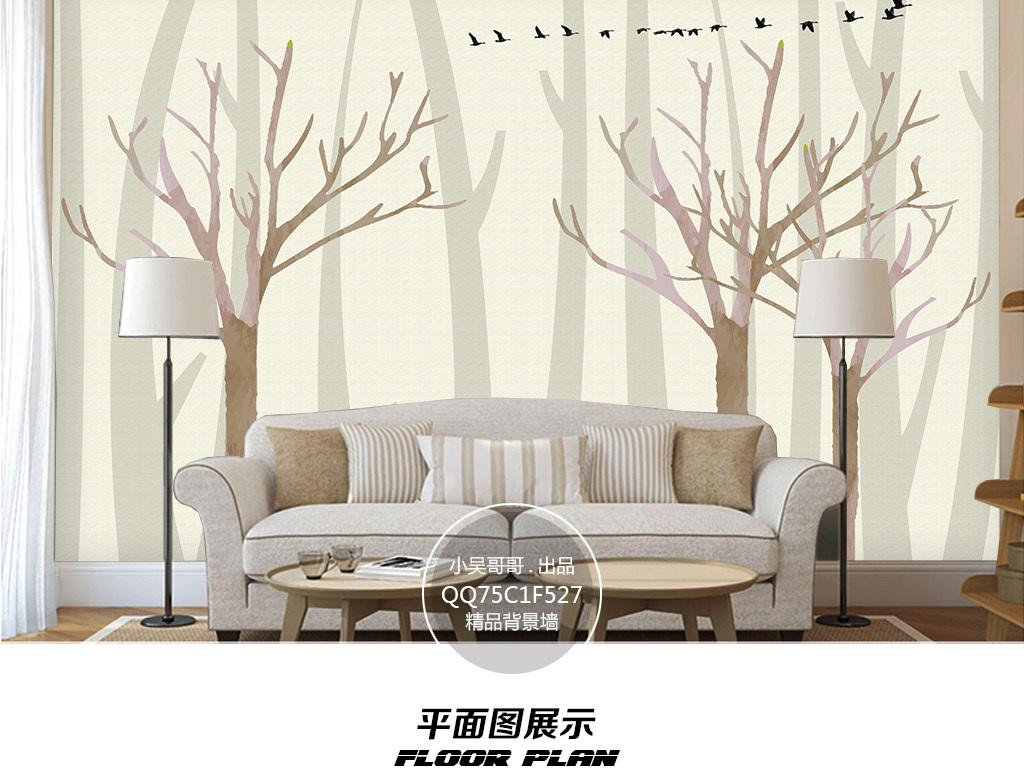 意境森林群鸟壁画电视背景墙