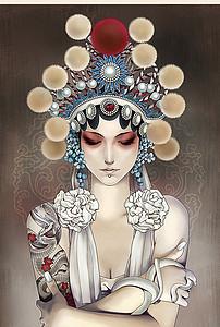 手绘京剧花旦美女玄关装饰画图片