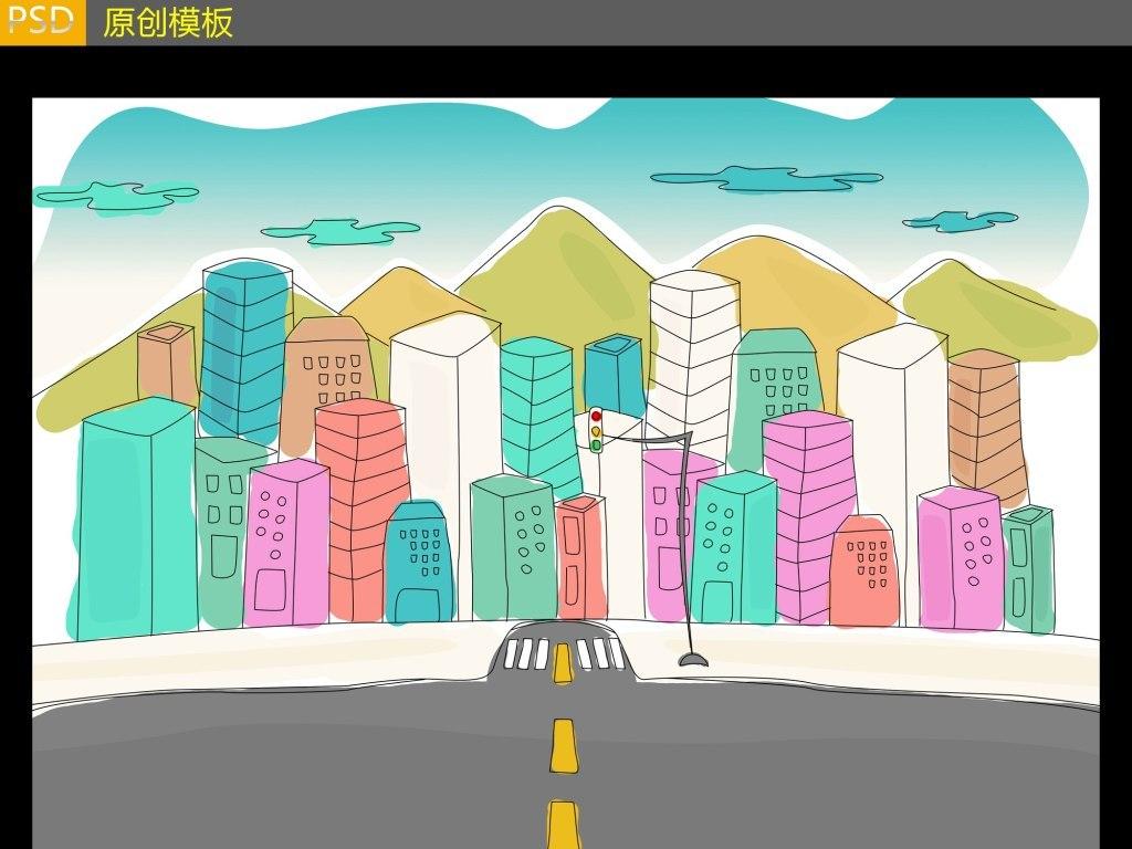 城市街道卡通图片PSD图片