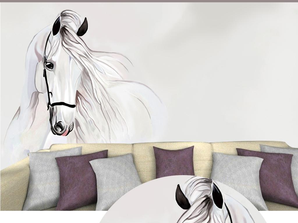 电脑手绘白马背景墙壁纸装饰画图片设计素材_高清psd