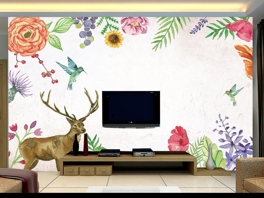 美式田园手绘插画麋鹿电视背景墙壁画