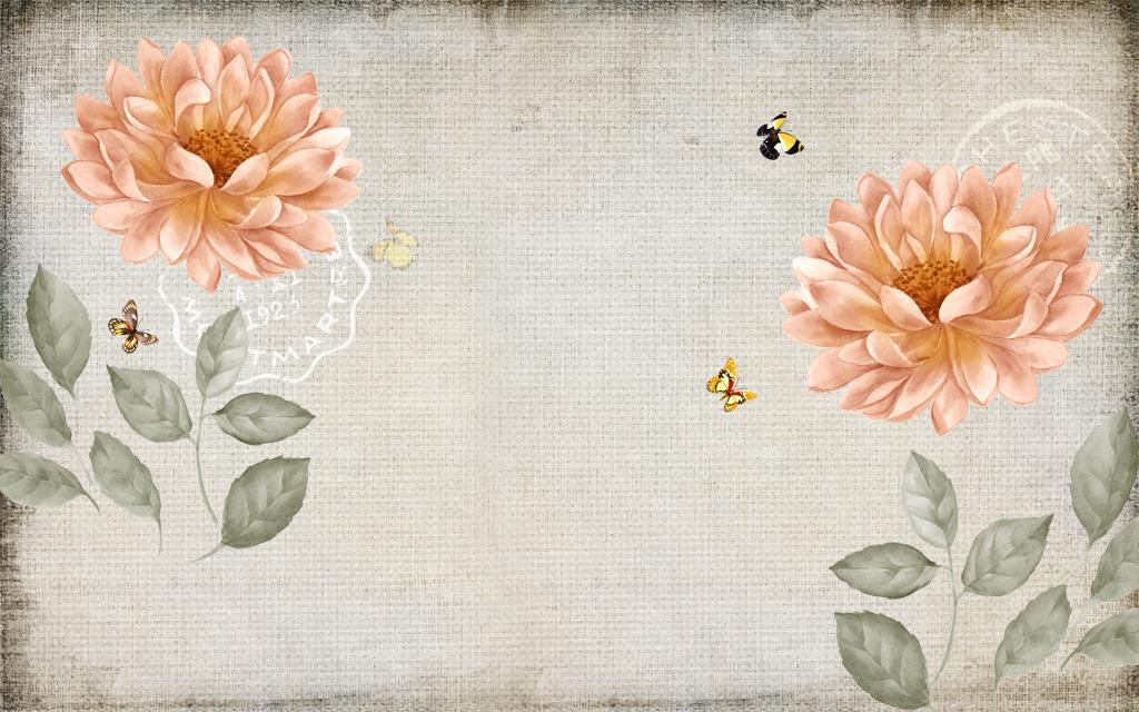 背景墙|装饰画 电视背景墙 美式背景墙 > 美式复古花朵背景  版权图片