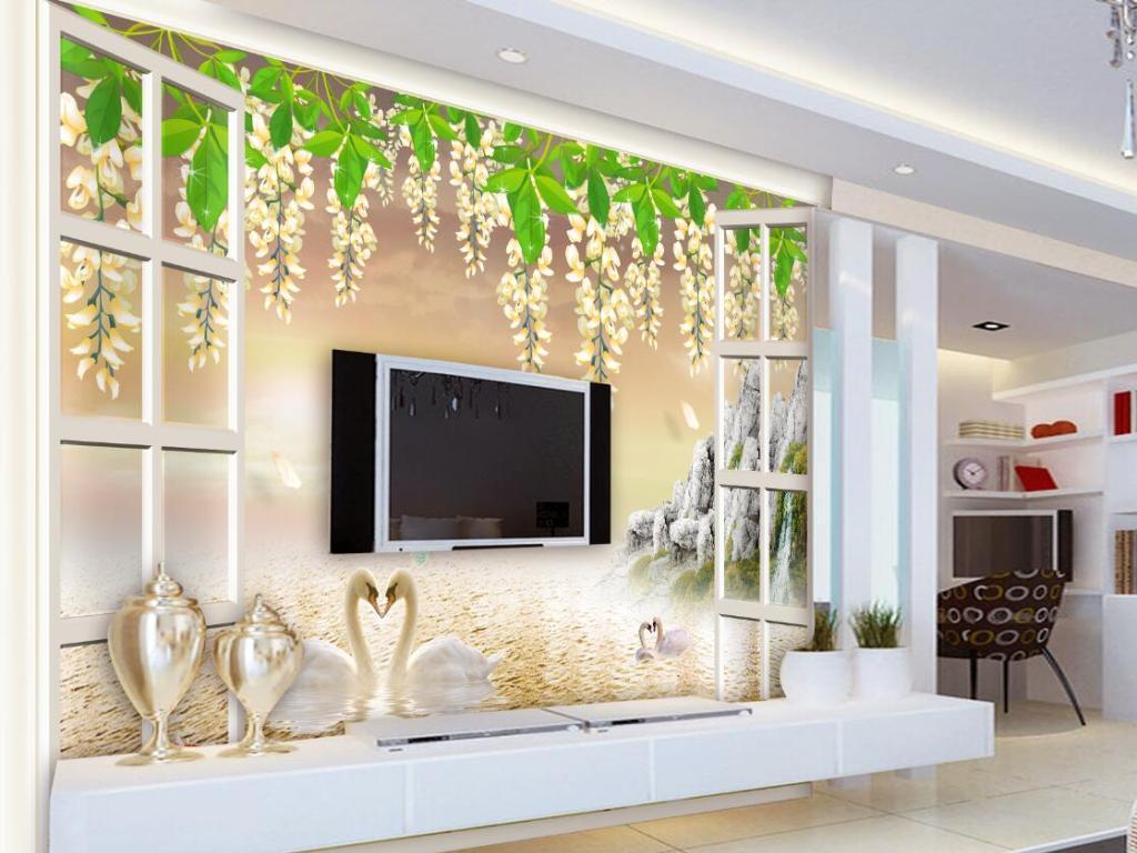 白色窗藤蔓晚霞天鹅山水田园风景背景墙